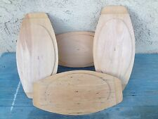 SET (4) VINTAGE WOOD RETRO WOODENWARE PLATES / FAJITA STEAK UNDER-PLATES JAPAN
