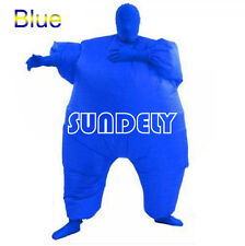 Blue Inflatable Fat Chub Suit Fancy Dress Party Adult Costume Cosplay Jumpsuit