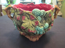 ANTIQUE ANTIQUE ONNAING MAJOLICA JARDINIERE WITH CHESTNUTS