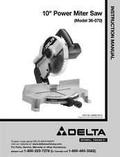 "Delta 36-070 10"" Power Miter Saw Instruction Manual"