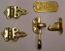 White Clad Ice Box Polished Brass Plaque/ Left Hand Latch/ Hinges