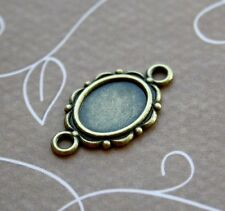 Antique bronze Mini Cabochon Resin Solid Base Setting Bracelet Connector - 10pcs