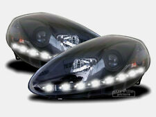 Black LED Daylight Headlights FOR Fiat Grande Punto type 199 Facelift from 2008