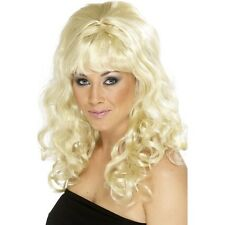 Women's Beehive Beauty Wig Blonde Curls 60's Hen Curly Long Pin Up Model Glamour