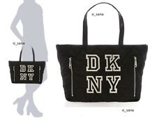 $195 DKNY Logo Nylon Quilted Large Women Shoulder Hand Bag Tote Black Gold NWT