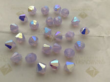 24 Swarovski #5301 8mm Crystal Violet Opal AB Faceted Bicone Beads