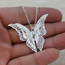 Women Girl Fashion Jewelry Charm Hollow Butterfly Pendant Chain Necklace Silver