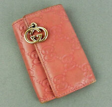 AUTH GUCCI GG LOGO PINK LEATHER GG CHARM 6 HOOKS KEY CASE PURSE MADE IN ITALY