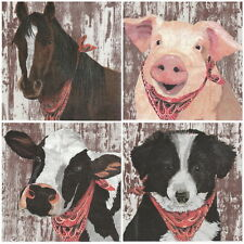 4 Single Table Party Paper Napkins for Decoupage Decopatch Craft Farm Mix