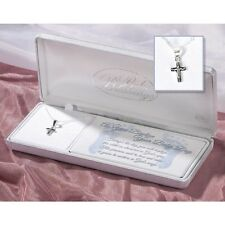 "Baby Boy Baptism Crucifix Necklace, Sterling Silver on 13"" Chain by Dicksons"