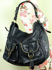 RUSSELL & BROMLEY Classic Black Leather Zipper Shopper/Tote Large Shoulder Bag