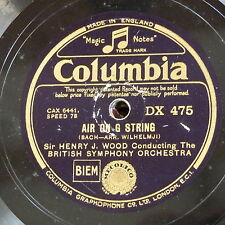 """78rpm 12"""" HENRY WOOD - BACH air on g string / gavotte in E"""