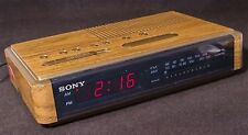 Vintage SONY ICF-C400 Dream Machine Alarm Clock Radio Wood Grain Works Red LED