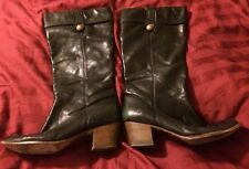 Coach Fayth Black Leather Calf Boots Size 9.5 B