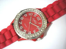 Ashley Princess Bling Bling Rubber Band Ladies & Girls Watch Red