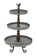 """New Vintage Metal Appeal 3 Tier Tray Stand Home Garden Kitchen Decor 16"""" x 29"""""""