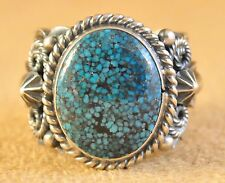 Navajo Sterling Silver Ring Spider Web Kingman Turquoise Signed  Donovan Cadman