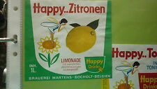 OLD BELGIAN SOFT DRINK CORDIAL LABEL, MARTENS BREWERY, HAPPY LEMON