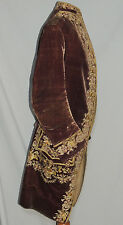 RARE Gents French Velvet Embroidered Court  Coat ca 1760's  to 1790's
