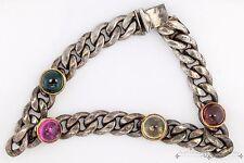 Vintage Estate Designer Sterling 925 Silver 14k Gold Tourmaline Tennis Bracelet!