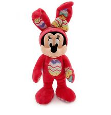 "Disney Authentic Patch Minnie Mouse Easter Bunny BIG Plush Doll 14"" H Girls Toy"