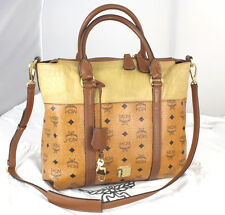 Authentic MCM Monogram 2-Way Satchel Cross-body Purse Bag Handbag Key & Lock