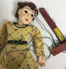 Vintage  Hazelle Marionette Puppet String 1950 Brunette Girl In Dress Mcm Prop