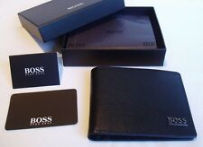 HUGO BOSS '50261706' BI FOLD BLACK CALFSKIN LEATHER CARD & NOTE WALLET