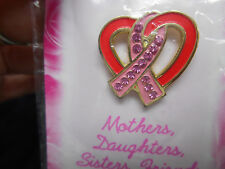 NEW Breast Cancer Lapel Pin Crystal Pink Ribbon in Heart  Mother Daughter Sister