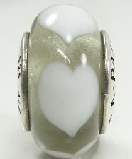 Pandora Sterling Silver Murano Glass Ice Love White Hearts Charm Bead #790666