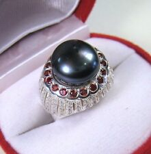 12 MM BLACK TAHITIAN COLOR PEARL RHODOLITE SAPPHIRE RING #7 GOLD/STERLING SILVER