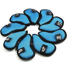 NEW 9 PCS Golf  Iron Club Headcover  Blue&Black Mesh Covers Number for Golfers