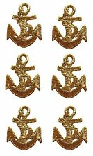 """3315 Lot 6Pcs 1-1/2"""" Nautical ,Marine Ship Gold Anchor Embroidery Applique Patch"""
