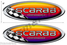 "Two Scarab Oval Racing Round Decals 14""X5"" each"