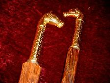 2 ~~ TWO ~~ BRASS HORSE HEAD  RUSTIC RIVED WALKINGSTICKS BY JIM HALL