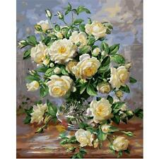 "11.8""*15.6""White Rose DIY Paint By Number Kit On Canvas Oil Painting Home Decor"