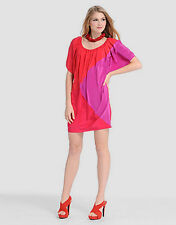 Phoebe Couture Color Block Dress Pinks Peek A Boo Sleeves Size 10 NWT
