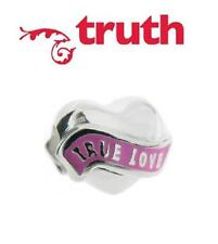 Genuine TRUTH PK 925 sterling silver and pink enamel TRUE LOVE heart charm bead