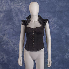 BEBE Black Shoulder Neckline Ruffle Corset Button Up Fitted Top Size XS Gothic