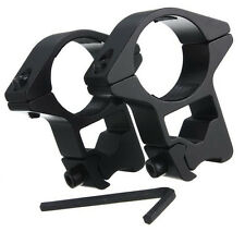 """New 2x High Profile 25mm/1"""" Scope Rings Tactical 11mm Dovetail Weaver Rail Mount"""