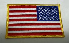"US American Flag Reverse 3.5X2.2.25""Gold Border Patch QUALITY Made in USA NEW(3)"