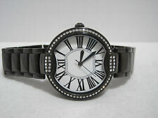 Bronzo Italia Bronze Pave' Crystal Bezel Round Panther Link Watch Black