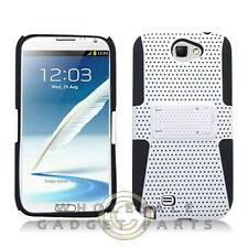 Samsung N7100 Note 2 Hybrid Mesh Case with Stand White Cover Shell Protector