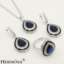 75% OFF Dazzling Blue Sapphire Sterling Silver Sets Necklace Earring Rings 8