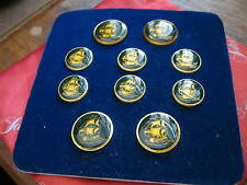 NEW ON CARD London Badge & Button 10pc Blazer Set, GOLDEN SAILING TALL SHIP Blue