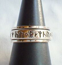 Rune Runic Spinning Worry Ring 925 Silver~Norse~Pagan Jewellery~Size Q~US 8.5
