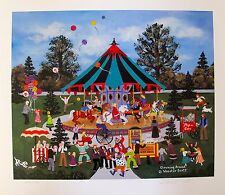 Jane Wooster Scott Hand Signed Lithograph CLOWNING AROUND CAROUSEL RIDES