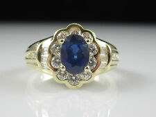 Sapphire Diamond Ring 14K Yellow Gold Fine Jewelry Size 6.5 Blue Cluster $2600