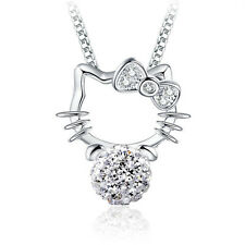 Womens Fashion 925 Sterling Silver Swarovski Crystal Kitty Cat Necklace Pendants