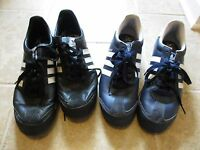 Two Pairs Adidas Samoa Lea Shoes - 1 pr Blue and 1 pr Black - Mens Size 10